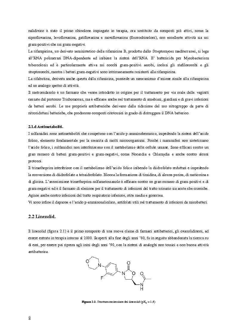Anteprima della tesi: Sviluppo e applicazione di metodiche per il dosaggio plasmatico degli antibiotici linezolid e vancomicina mediante HPLC, Pagina 5