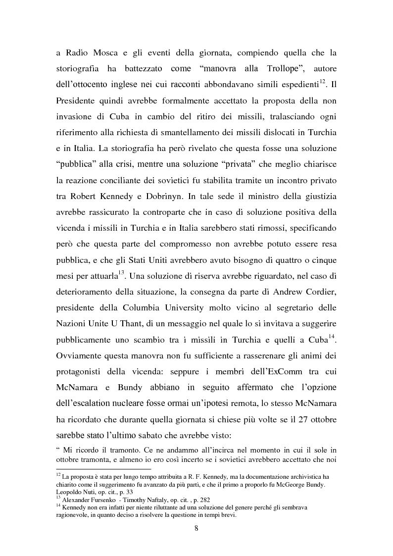 Estratto dalla tesi: Interpretazioni storiografiche sulla crisi dei missili cubani