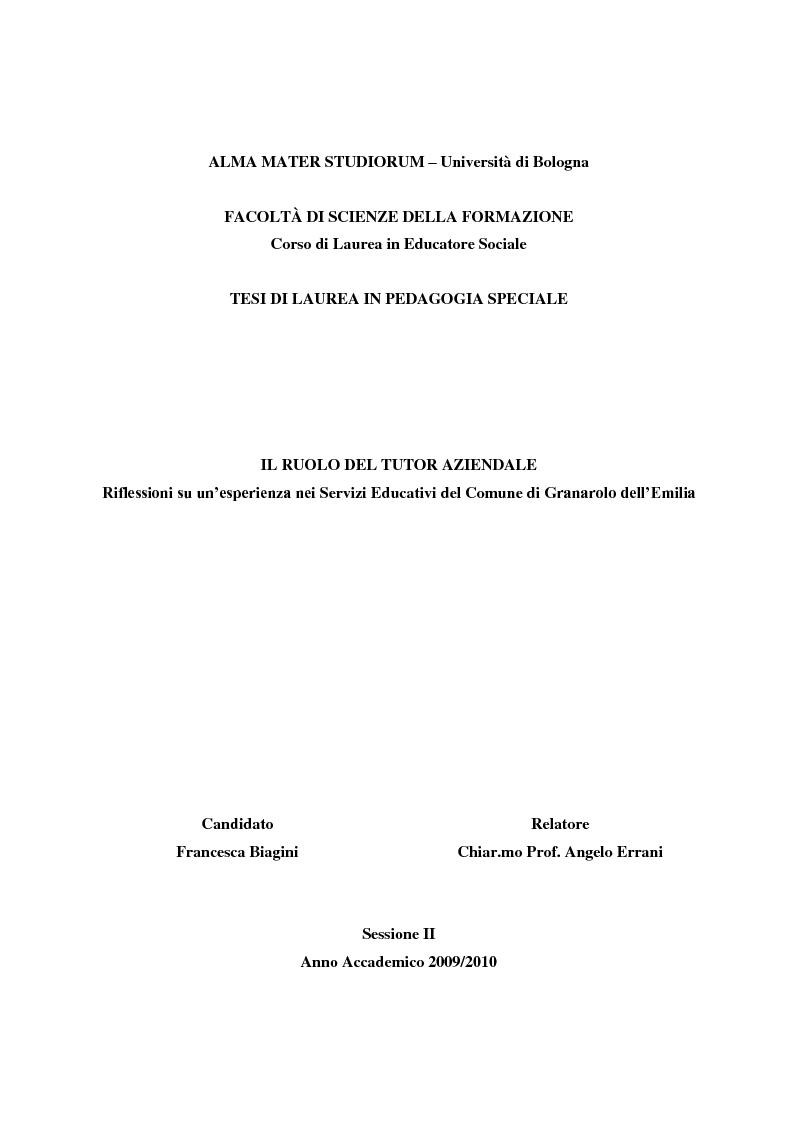 Comune Di Granarolo Dell Emilia alma mater studiorum – università di bologna facoltÀ di