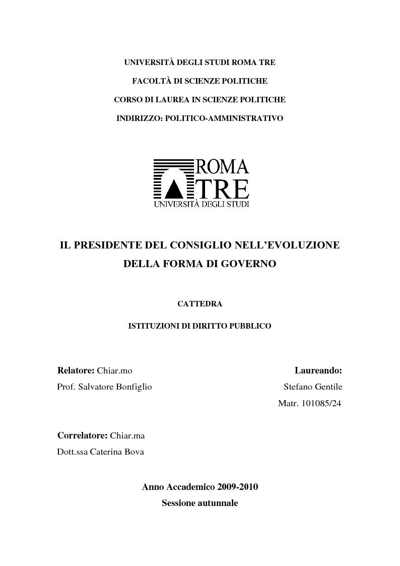 Anteprima della tesi: Il Presidente del Consiglio nell'evoluzione della forma di governo, Pagina 1