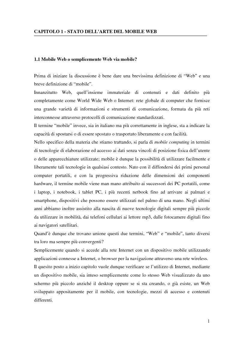 Usabilit� nel mobile Web: il caso del portale Info.fvg.it. - Tesi di Laurea