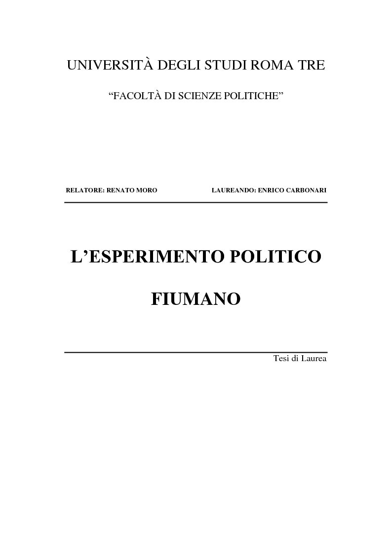 Anteprima della tesi: L'esperimento politico fiumano, Pagina 1