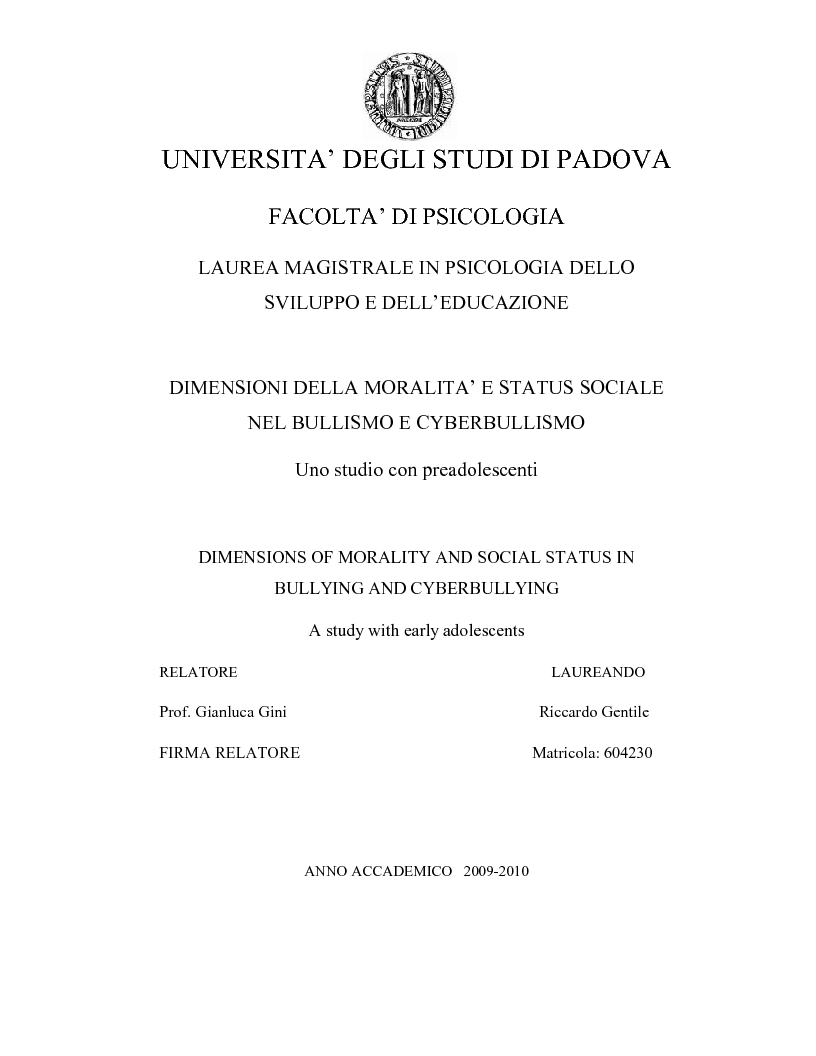 Anteprima della tesi: Dimensioni della moralità e dello status sociale nel bullismo e cyberbullismo, Pagina 1