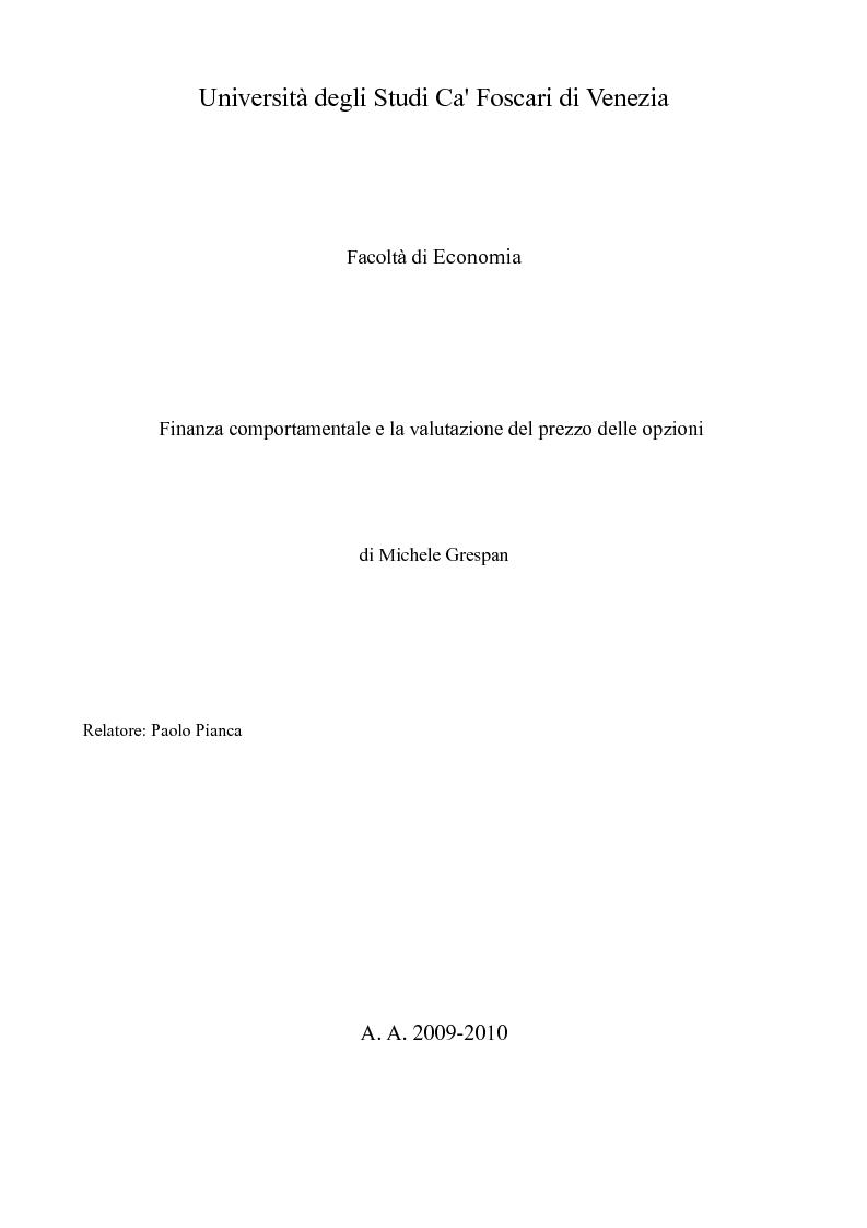 Anteprima della tesi: Finanza comportamentale e la valutazione del prezzo delle opzioni, Pagina 1