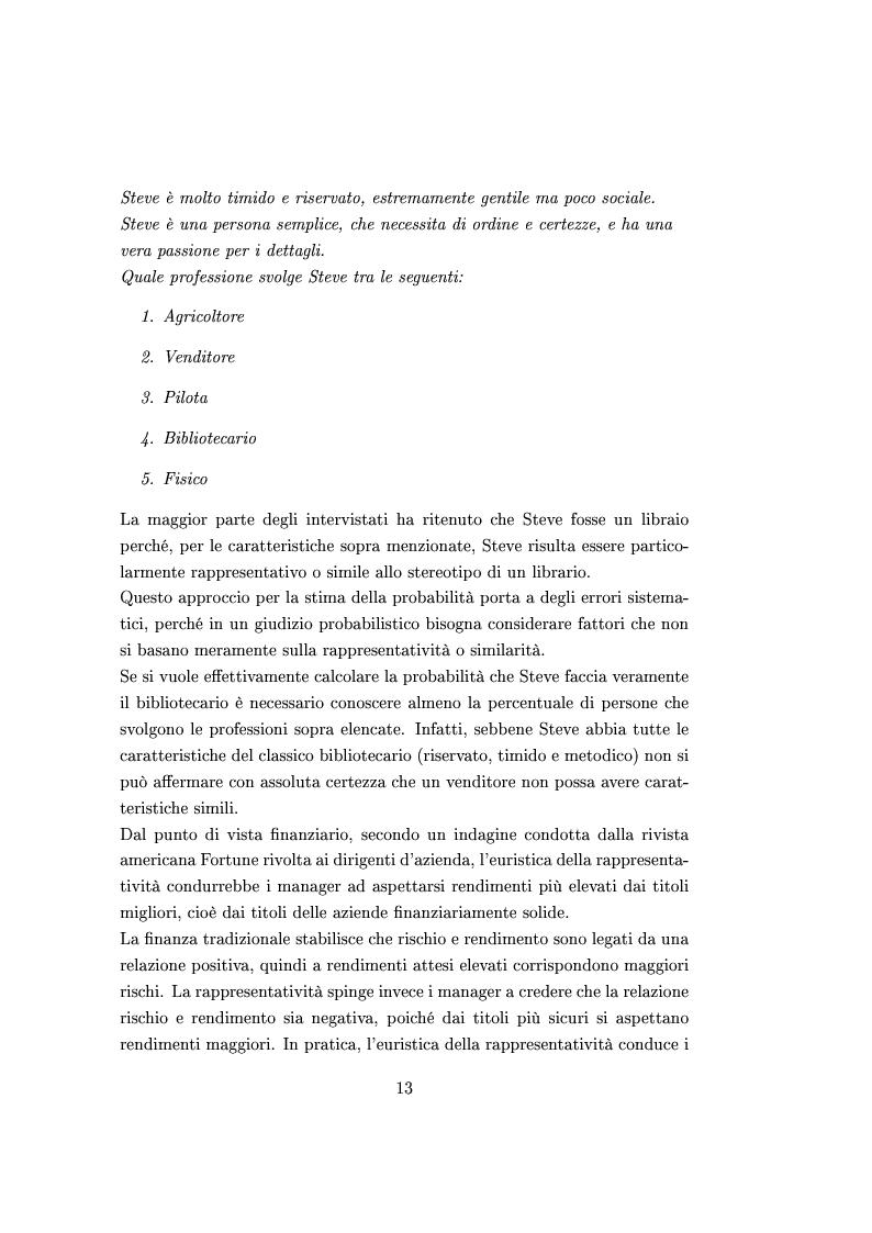 Anteprima della tesi: Finanza comportamentale e la valutazione del prezzo delle opzioni, Pagina 12