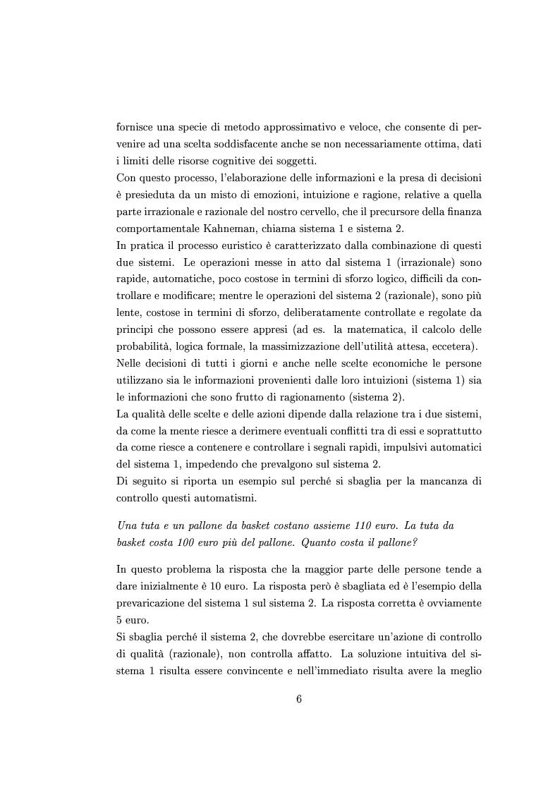 Anteprima della tesi: Finanza comportamentale e la valutazione del prezzo delle opzioni, Pagina 5
