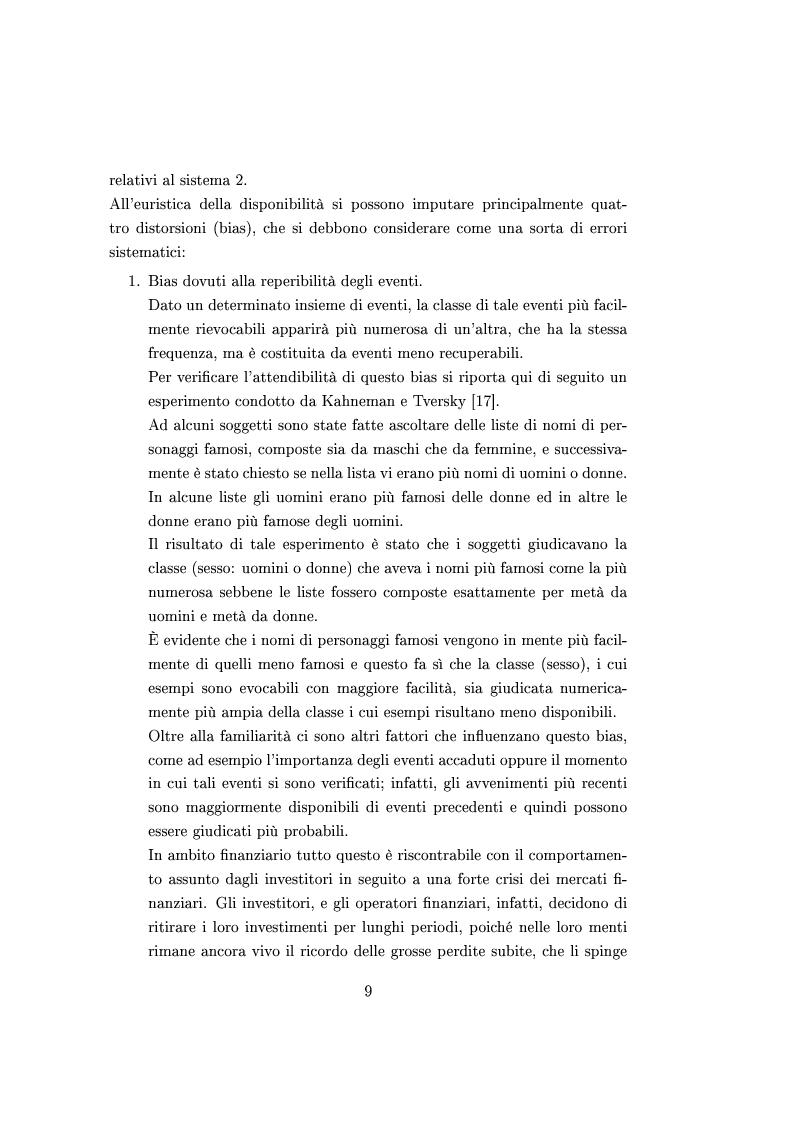 Anteprima della tesi: Finanza comportamentale e la valutazione del prezzo delle opzioni, Pagina 8