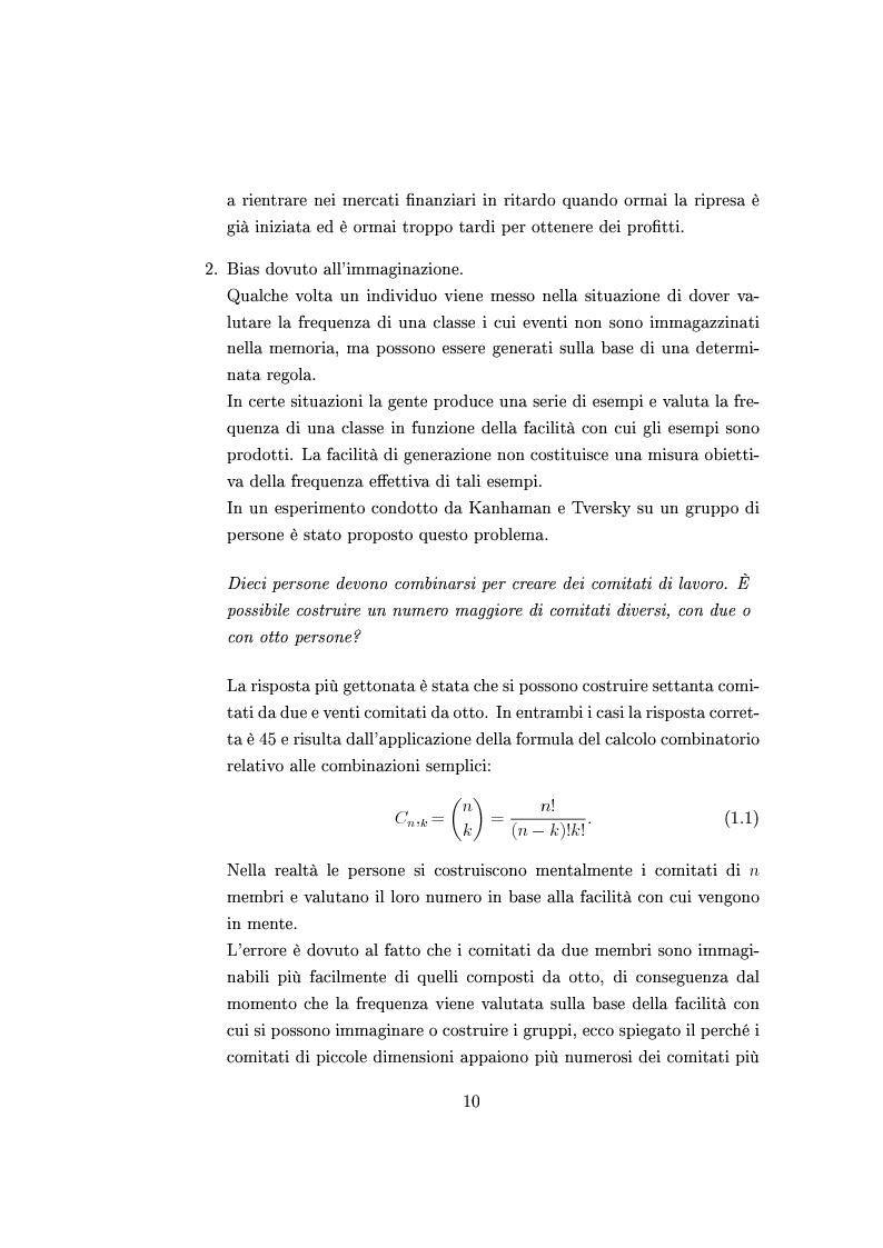 Anteprima della tesi: Finanza comportamentale e la valutazione del prezzo delle opzioni, Pagina 9