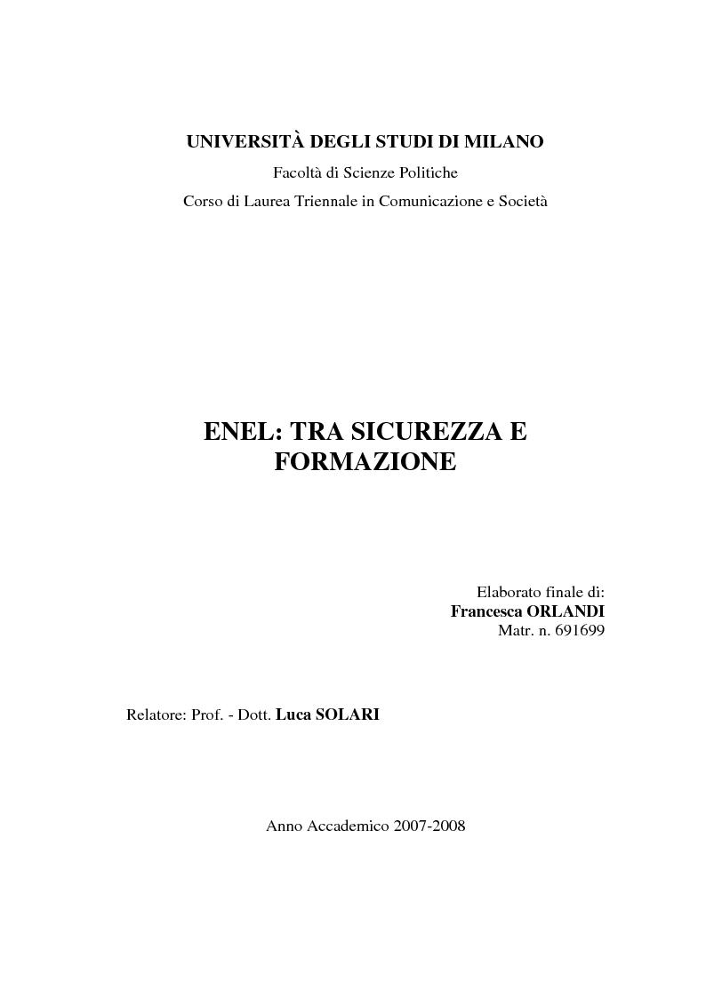 Anteprima della tesi: Enel: tra sicurezza e formazione, Pagina 1