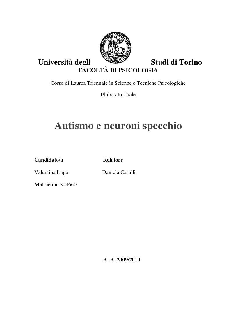 Anteprima tesi laurea triennale autismo e neuroni specchio pagina 1 di 4 - Neuroni specchio e autismo ...