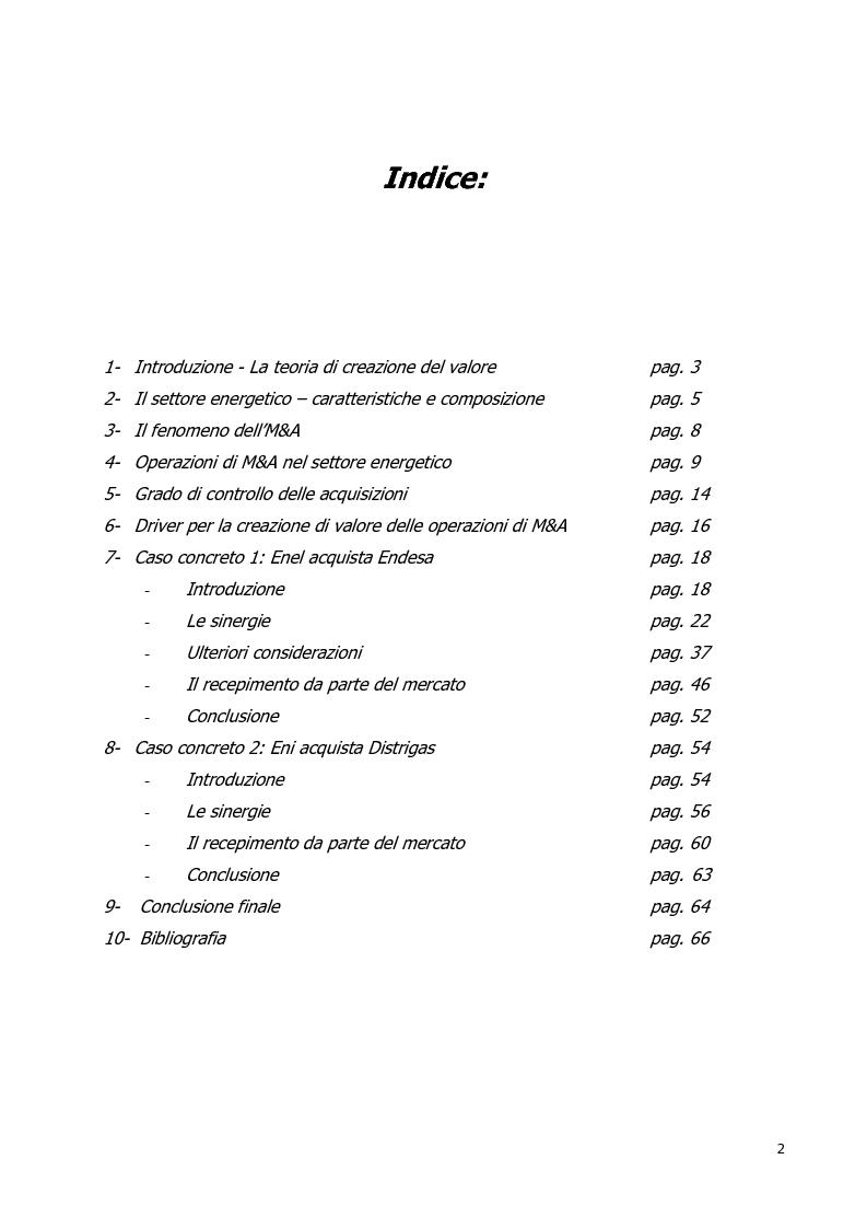 Indice della tesi: Le operazioni di M&A nel settore energetico: l'internazionalizzazione delle imprese italiane, Pagina 1
