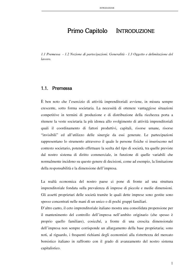 La tassazione dei redditi da partecipazione - Tesi di Laurea