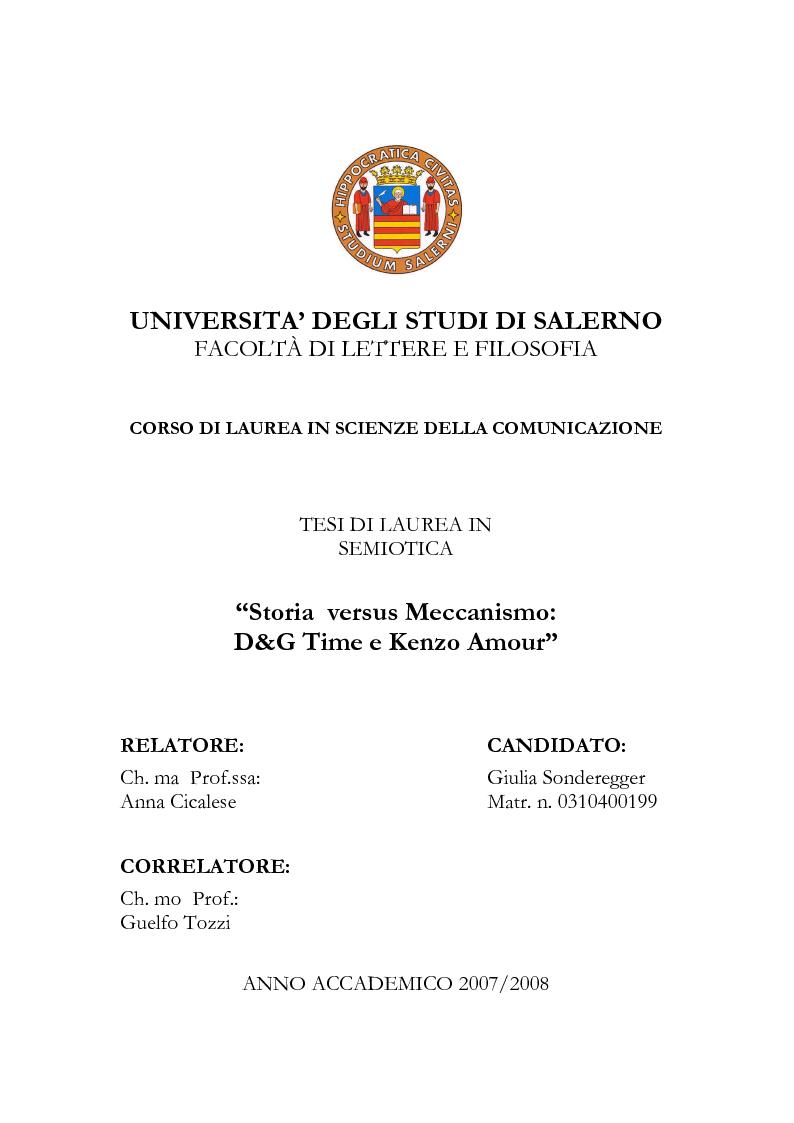 Anteprima della tesi: Storia versus Meccanismo: D&G Time e Kenzo Amour, Pagina 1