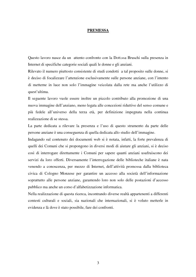 Anteprima della tesi: Internet e gli anziani: come la Rete rappresenta gli anziani e come gli anziani utilizzano la Rete, Pagina 1