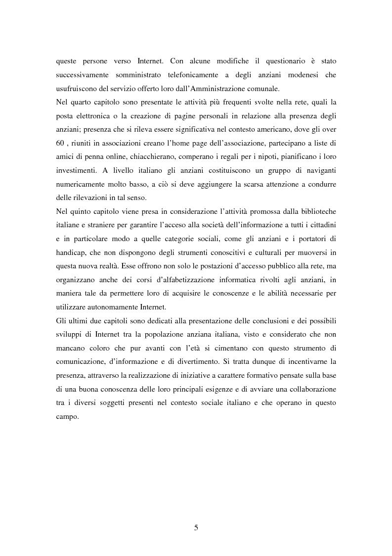 Anteprima della tesi: Internet e gli anziani: come la Rete rappresenta gli anziani e come gli anziani utilizzano la Rete, Pagina 3