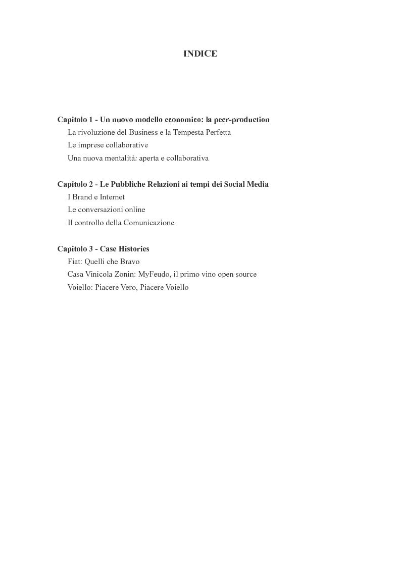 Indice della tesi: Il web e le nuove frontiere della comunicazione aziendale: Internet PR e Social Network, Pagina 1
