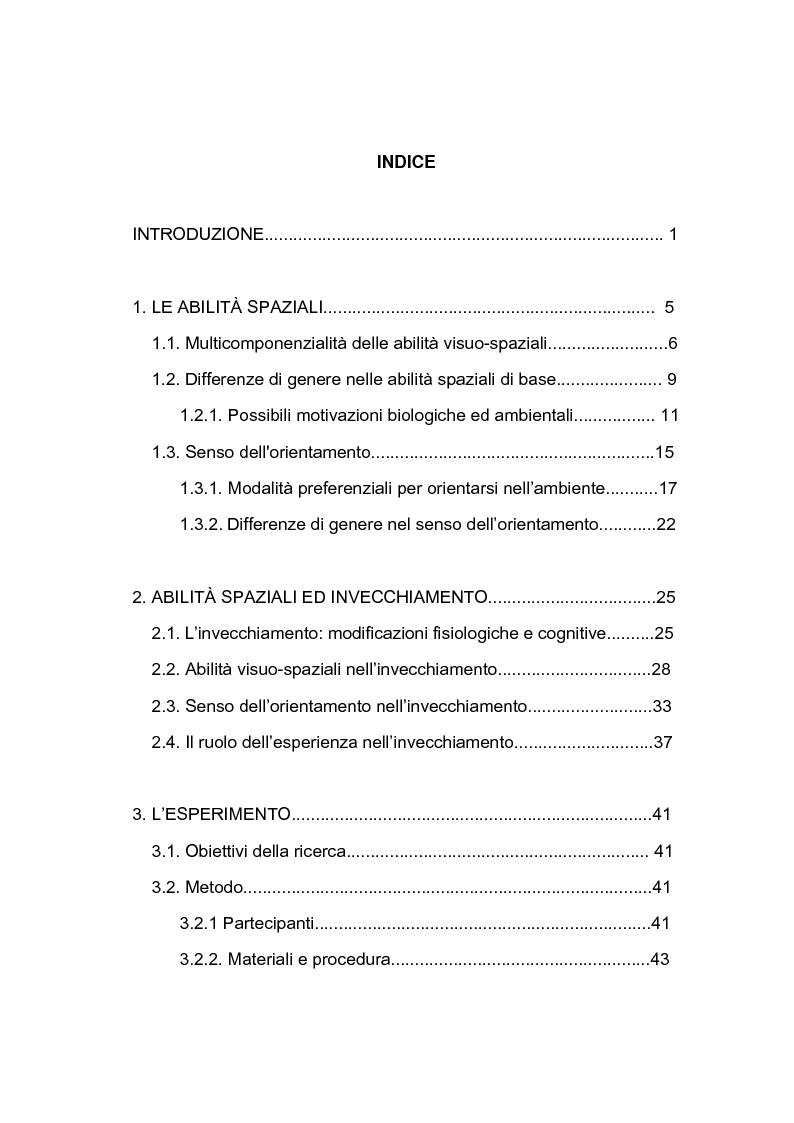 Indice della tesi: Abilità visuo-spaziali e senso dell'orientamento: analisi di un campione di adulti dalla mezza età all'età anziana, Pagina 1