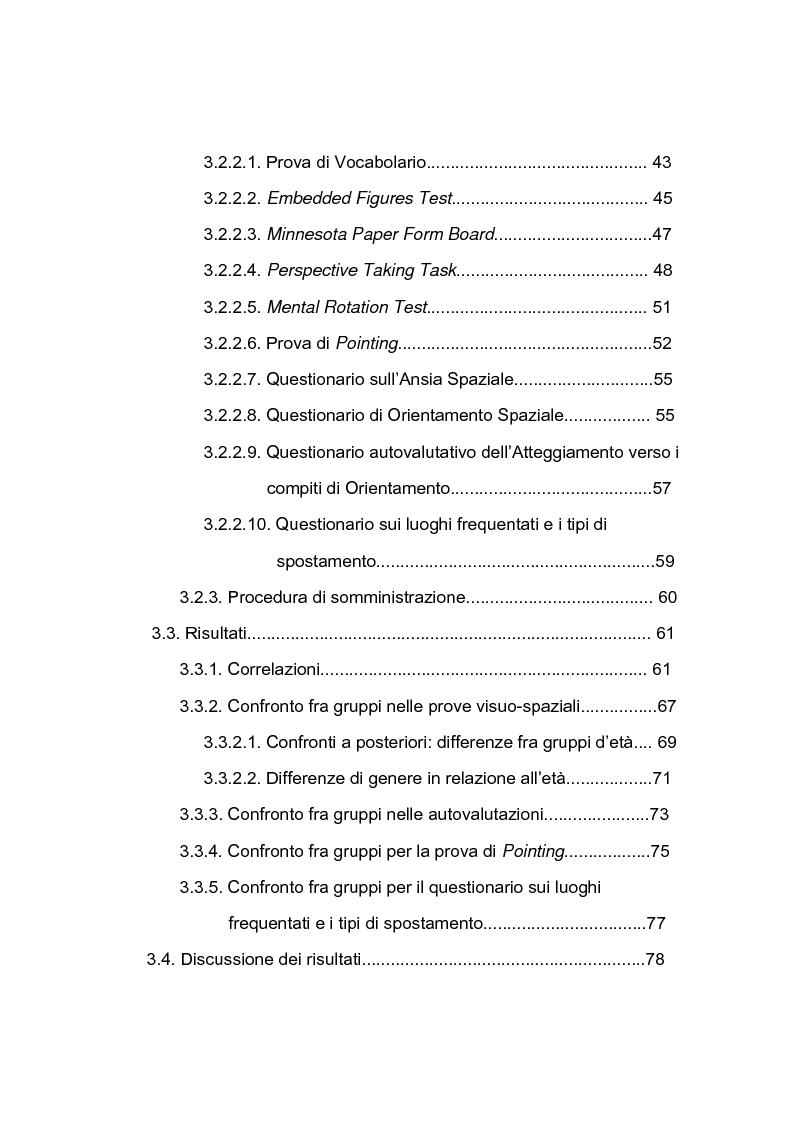 Indice della tesi: Abilità visuo-spaziali e senso dell'orientamento: analisi di un campione di adulti dalla mezza età all'età anziana, Pagina 2