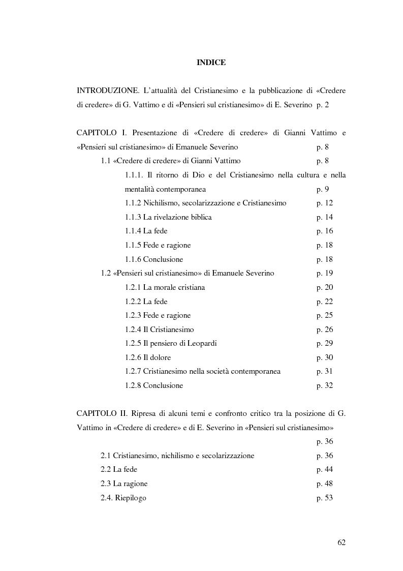 Indice della tesi: «Credere di Credere» di G. Vattimo e «Pensieri sul cristianesimo» di E. Severino: Confronto con il cristianesimo?, Pagina 1