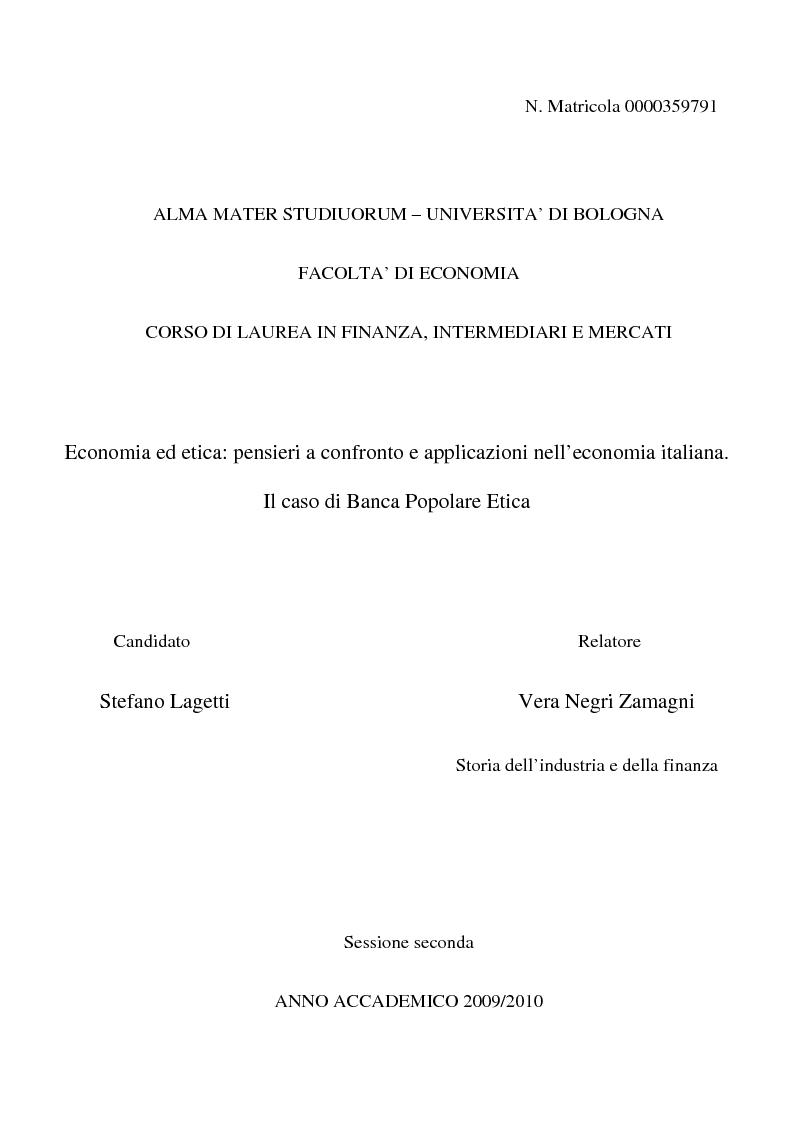 Anteprima della tesi: Economia ed etica: pensieri a confronto e applicazioni nell'economia italiana. Il caso di Banca Popolare Etica, Pagina 1