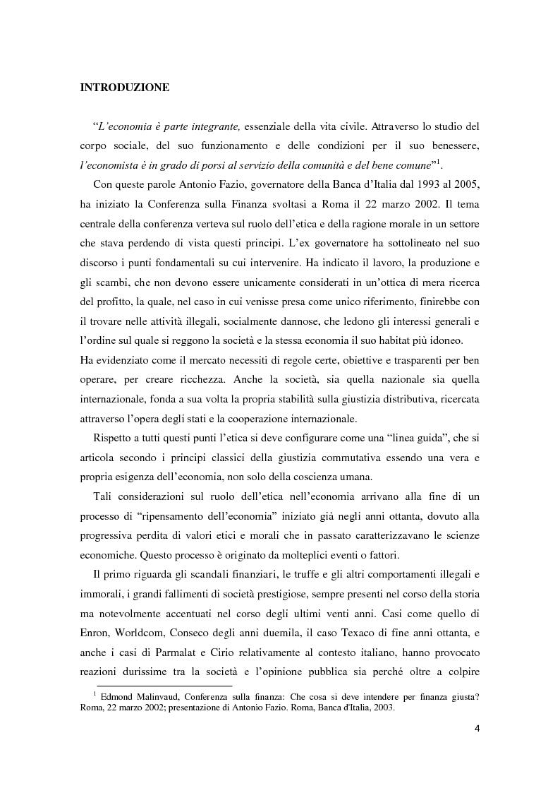 Economia ed etica: pensieri a confronto e applicazioni nell'economia italiana. Il caso di Banca Popolare Etica - Tesi di...