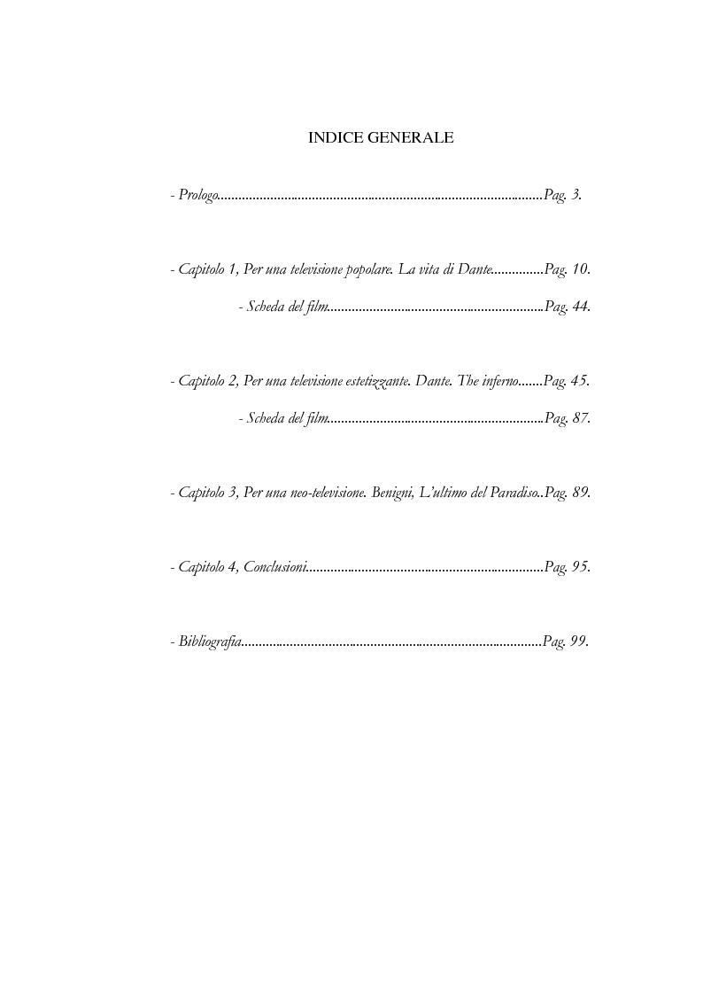 Indice della tesi: Dante in Tv, Pagina 1