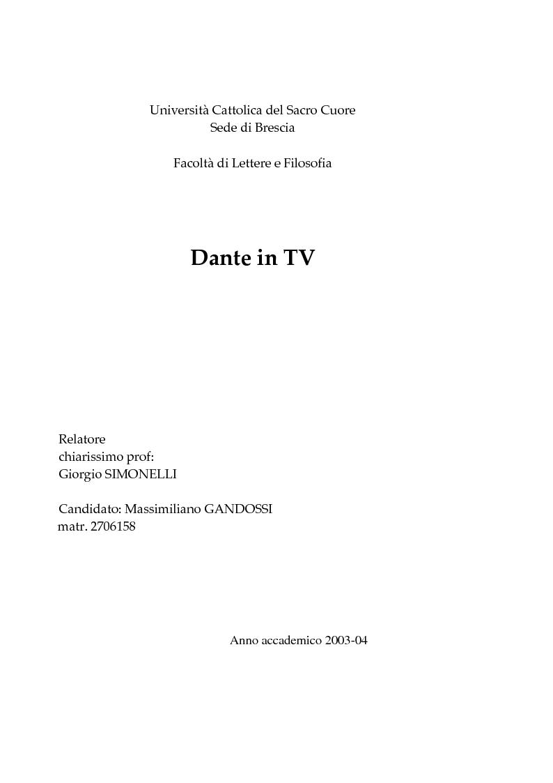 Anteprima della tesi: Dante in Tv, Pagina 1