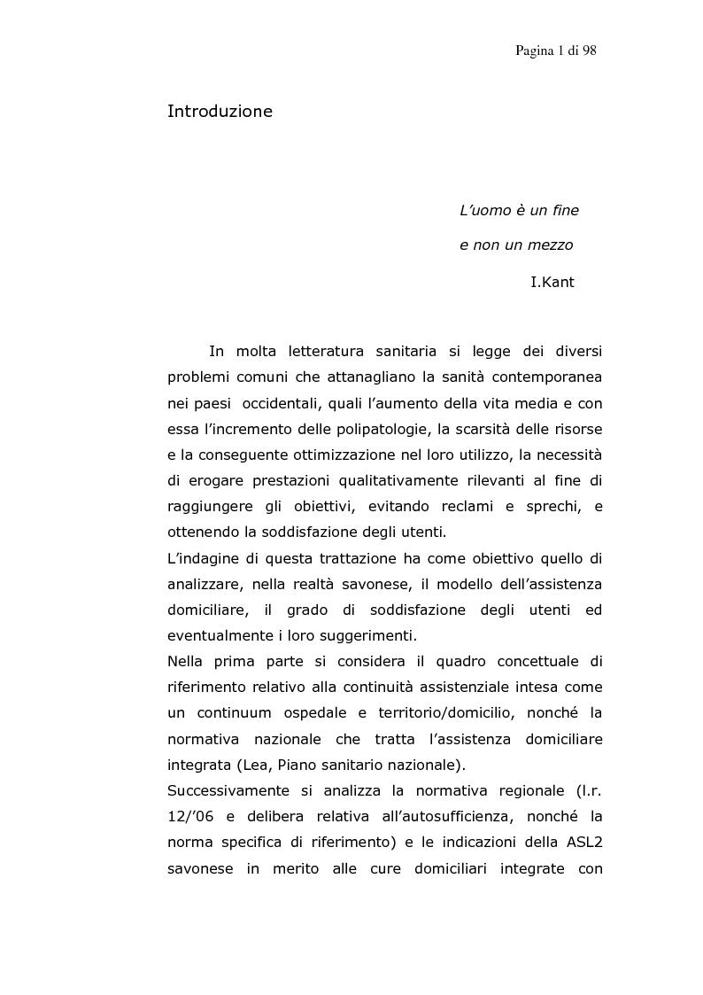 Il modello delle cure domiciliari come alternativa alla continuit� assistenziale - Tesi di Laurea