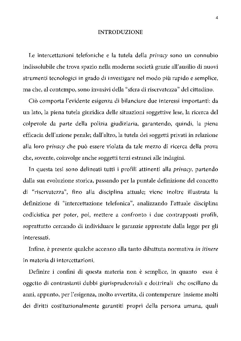 Intercettazioni telefoniche e tutela della privacy - Tesi di Laurea