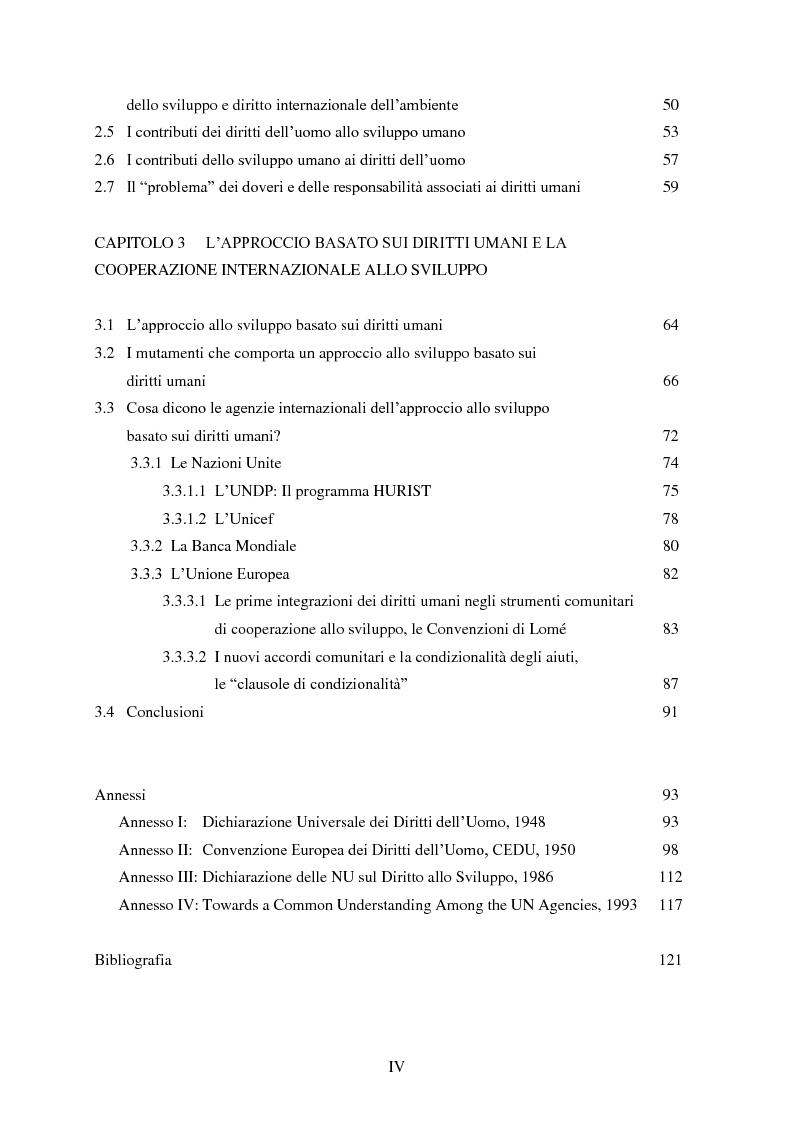 Indice della tesi: I diritti umani nella cooperazione internazionale allo sviluppo. L'approccio basato sui diritti umani., Pagina 2