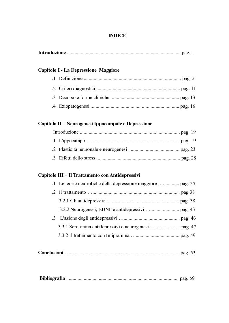 Indice della tesi: Fisiopatologia della Depressione Maggiore e Neurogenesi Ippocampale, Pagina 1