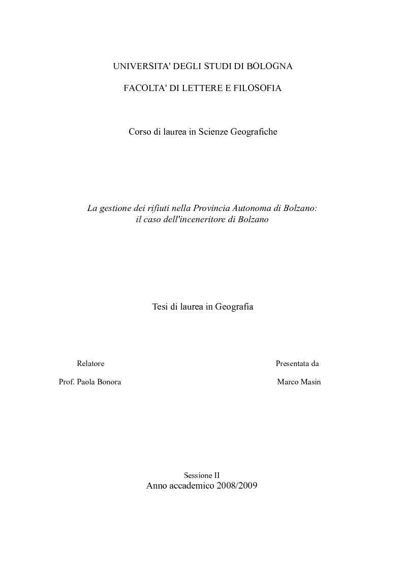 Anteprima della tesi: La gestione dei rifiuti nella Provincia Autonoma di Bolzano: il caso dell'inceneritore di Bolzano, Pagina 1