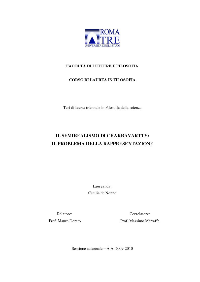 Anteprima della tesi: Il semirealismo di Chakravartty: il problema della rappresentazione, Pagina 1