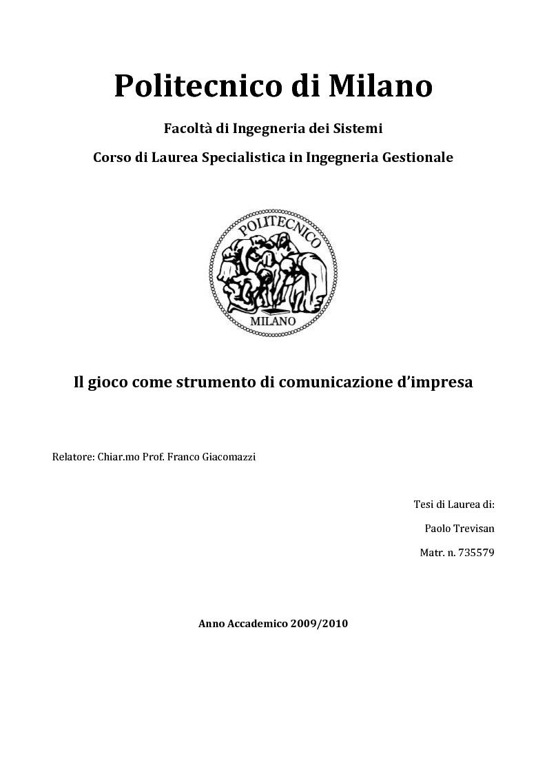 Anteprima della tesi: Il gioco come strumento di comunicazione d'impresa, Pagina 1