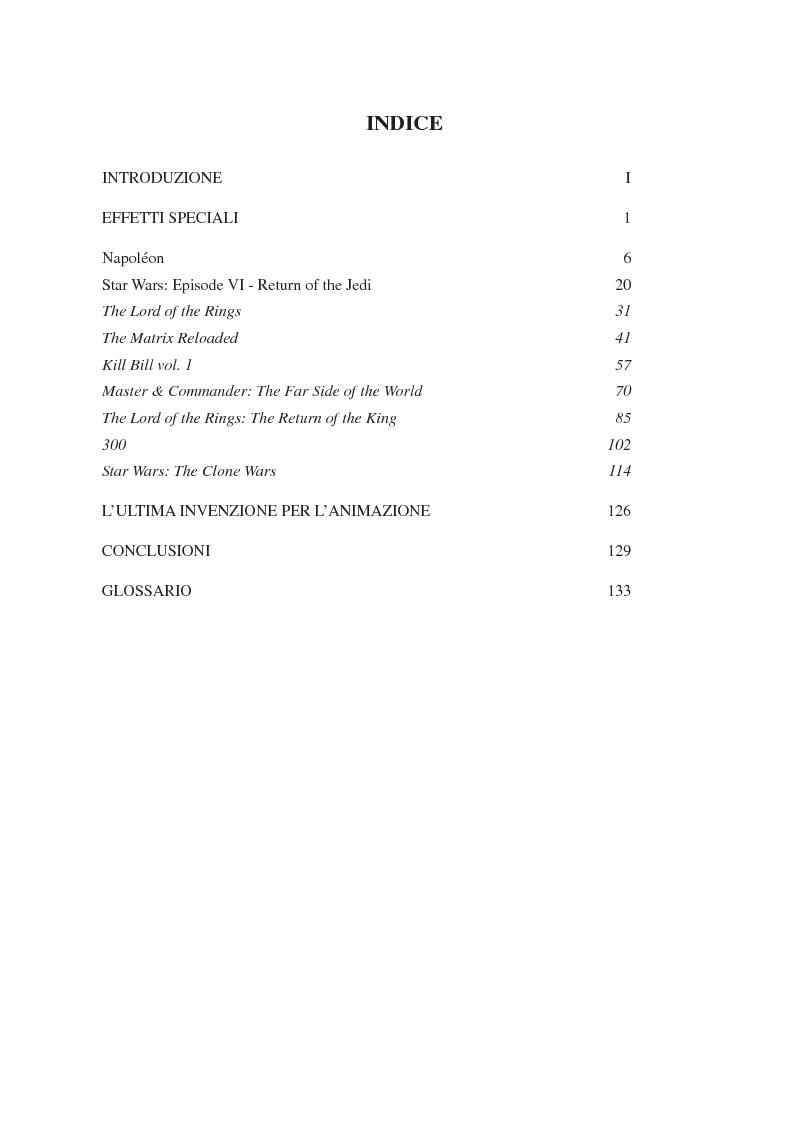 Indice della tesi: L'evoluzione delle scene di battaglia nella storia del cinema dall'analogico al digitale, Pagina 1