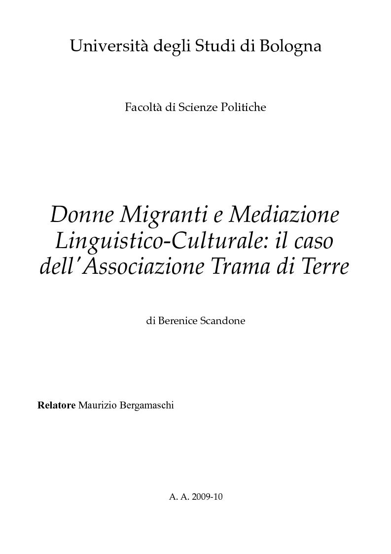 Anteprima della tesi: Donne migranti e mediazione linguistico-culturale: il caso dell'Associazione Trama di Terre, Pagina 1