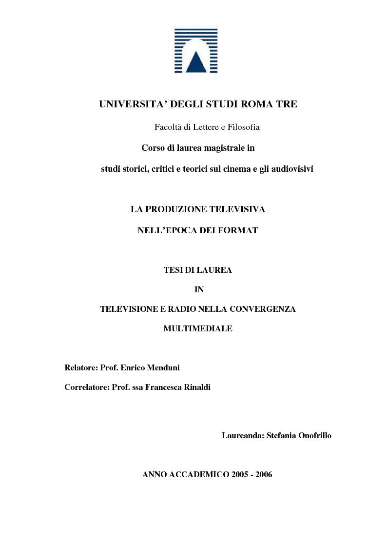 Anteprima della tesi: La produzione televisiva nell'epoca dei format, Pagina 1