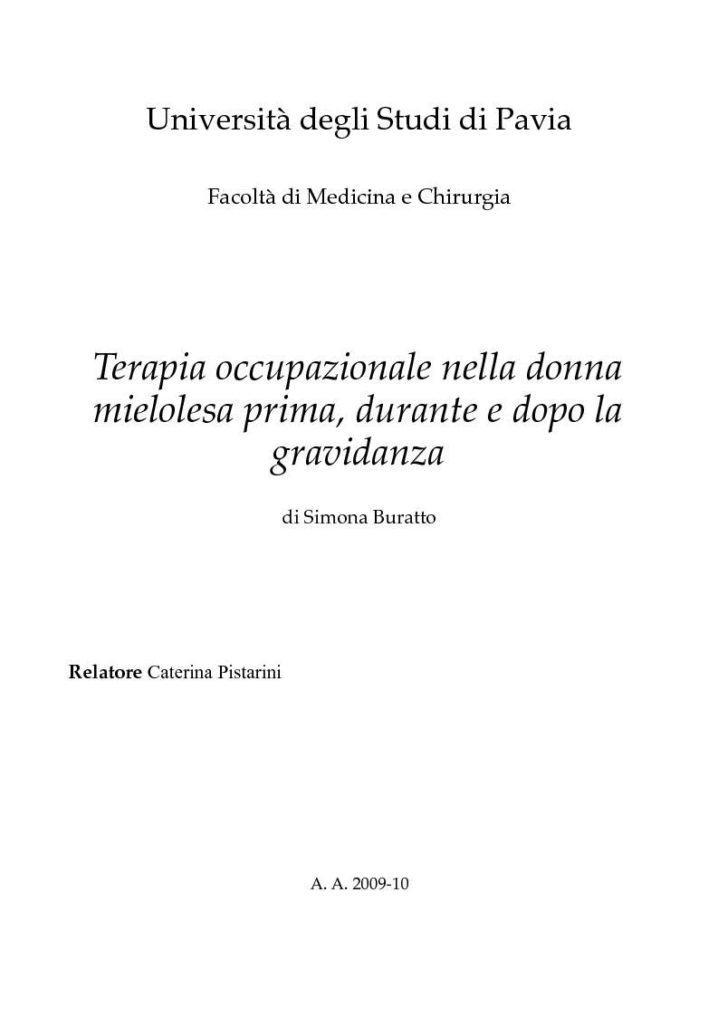 Anteprima della tesi: Terapia occupazionale nella donna mielolesa prima, durante e dopo la gravidanza., Pagina 1