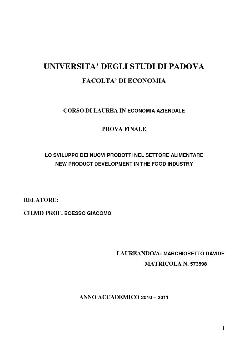 Anteprima della tesi: New Product Development in the food industry - Lo sviluppo di nuovi prodotti nel settore alimentare, Pagina 1