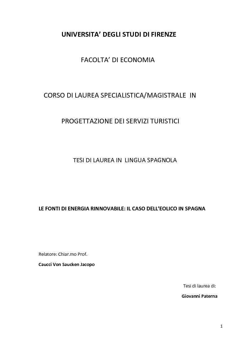 Anteprima della tesi: Le fonti di energia rinnovabile: il caso dell'eolico in Spagna, Pagina 1