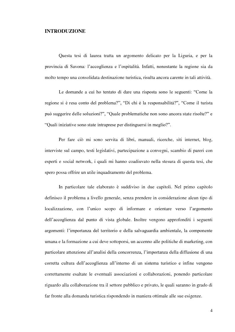 Accoglienza e ospitalit� in Liguria: il caso della Provincia di Savona - Tesi di Laurea