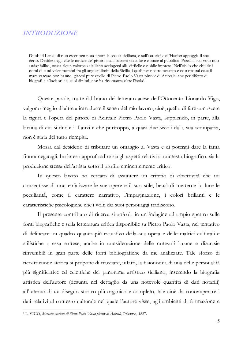Pietro Paolo Vasta un pittore del Settecento siciliano - Tesi di Laurea
