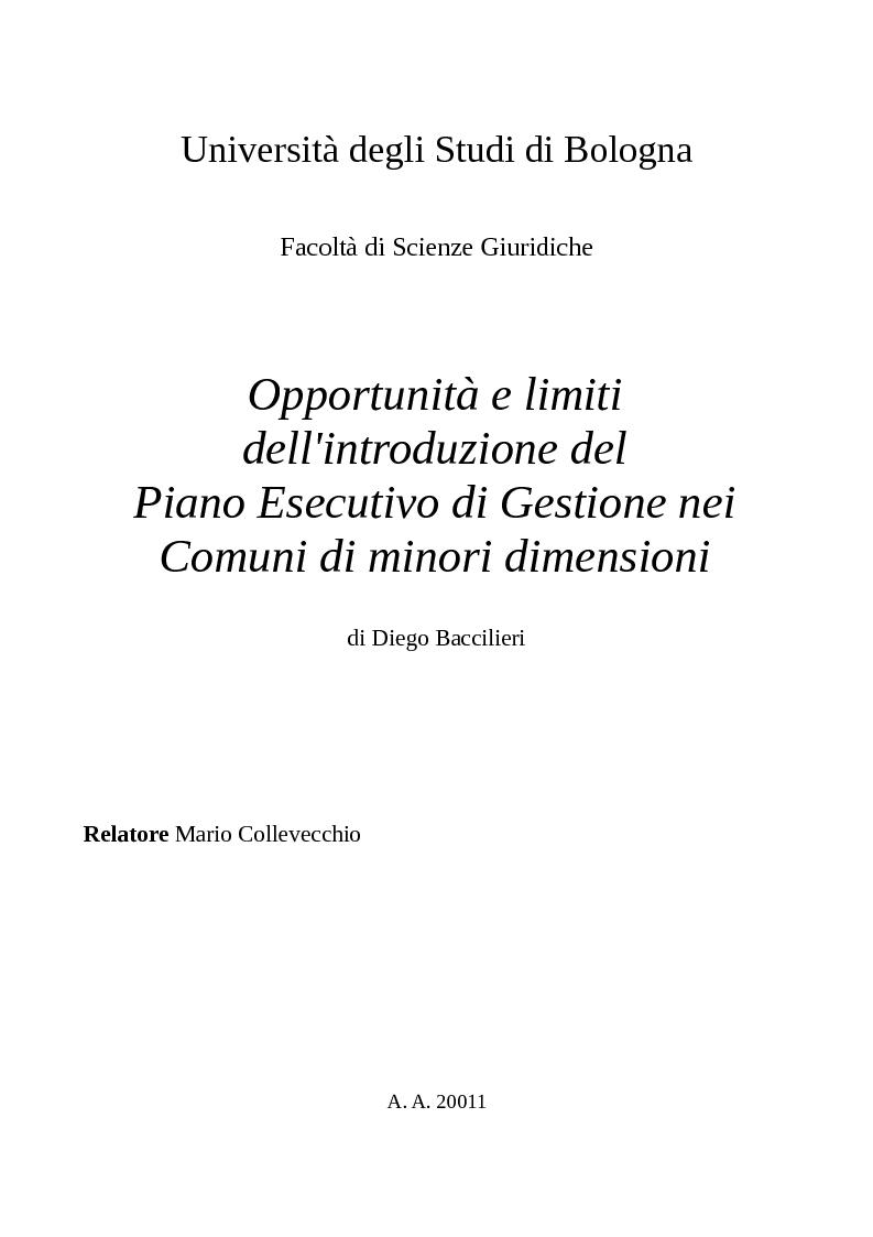 Anteprima della tesi: Opportunità e limiti dell'introduzione del Piano Esecutivo di Gestione nei Comuni di minori dimensioni, Pagina 1