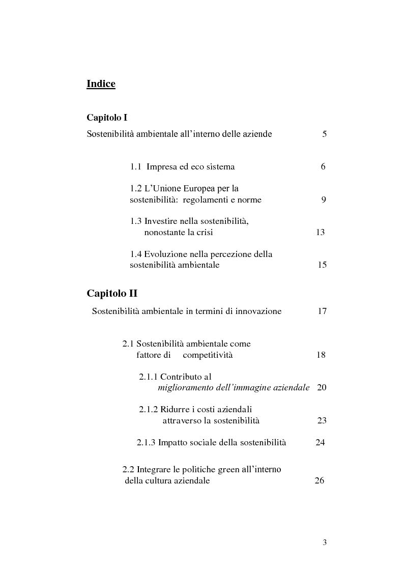 Indice della tesi: Sostenibilità ambientale come driver di innovazione , Pagina 1