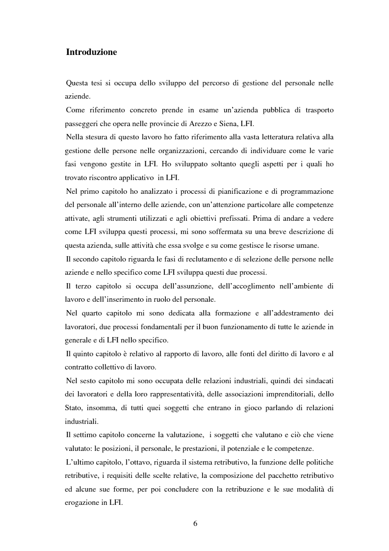 La gestione delle persone in azienda: le fasi principali e la loro applicazione nella societ� LFI di Arezzo - Tesi di La...