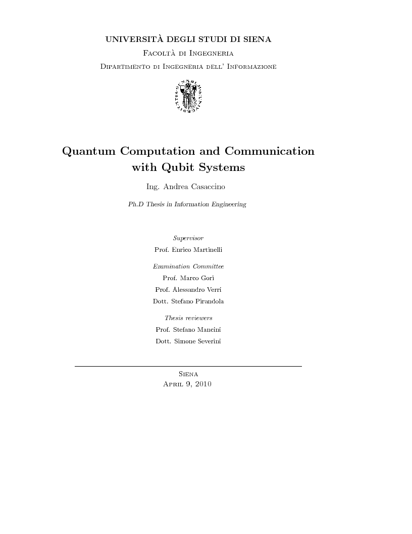 Anteprima della tesi: Quantum Computation and Communication with Qubit Systems, Pagina 1
