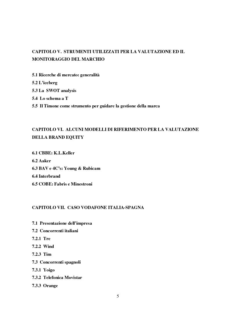 Indice della tesi: La gestione del valore della marca, Pagina 3