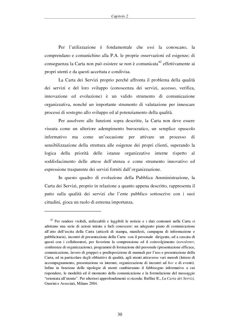 Estratto dalla tesi: Proposta di una Carta dei Servizi per il Comune di Pisa
