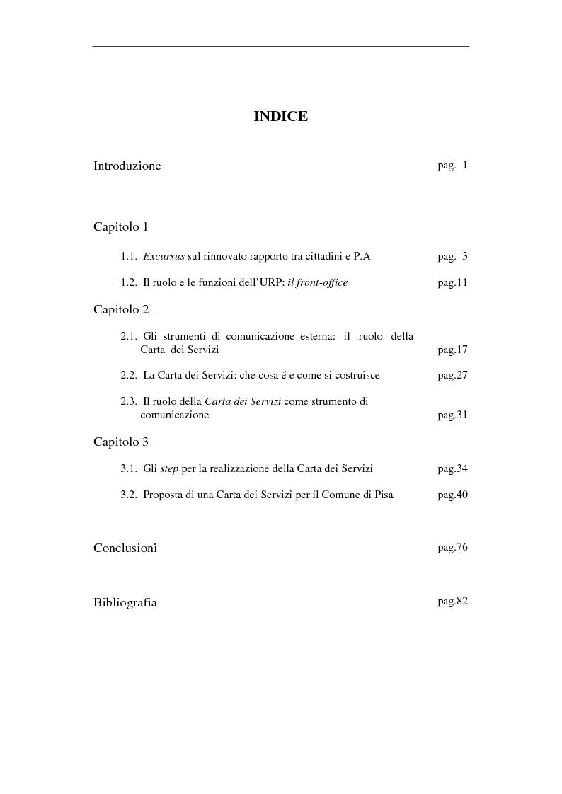 Indice della tesi: Proposta di una Carta dei Servizi per il Comune di Pisa, Pagina 1