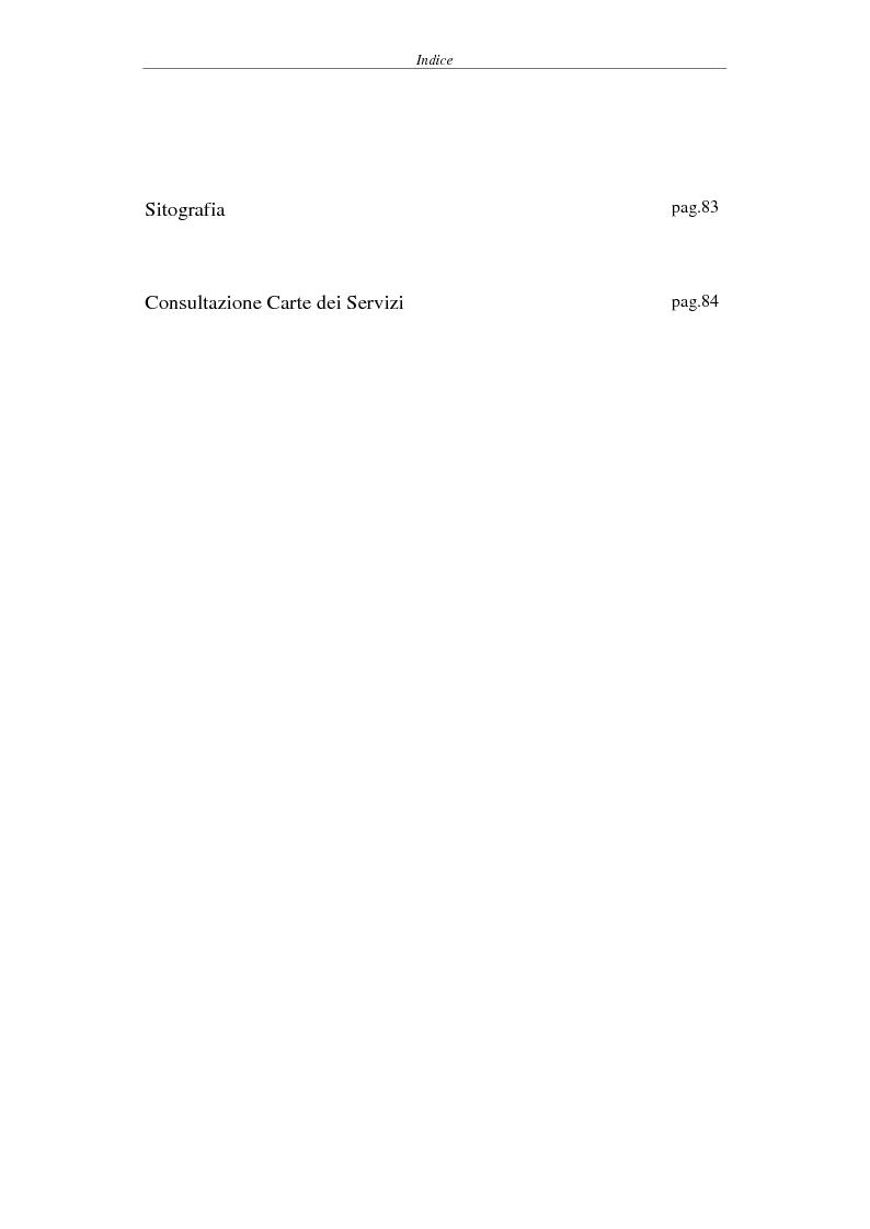 Indice della tesi: Proposta di una Carta dei Servizi per il Comune di Pisa, Pagina 2